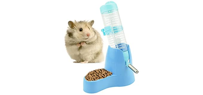 Newweic 2-in-1 Pet Water Bottle and Food Dispenser - Hamster's Water Bottle