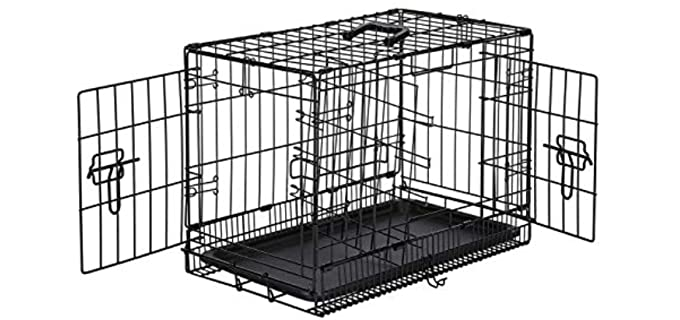 AmazonBasics Folding Metal Dog Crate - Puppy Crate