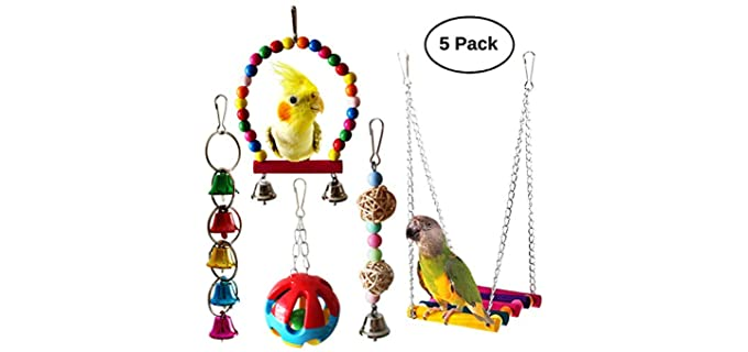 BWOGUE 5-Pieces Bird Parrot Toys - Toy for Birds