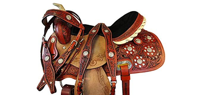 Orlov Hill Leather Co Tooled Horse Western Saddle - Barrel Saddle