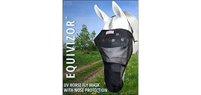 EquiVizor 95% UV Eye Protection Horse Fly Mask with Nose - Fly Mask for Horses