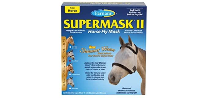 SuperMask II Horse Fly Mask Shimmer Weave Mesh - Fly Mask for Horses