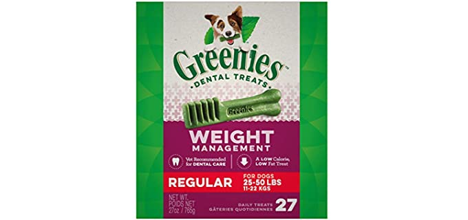Greenies Weight Management Dental Dog Treats - Teeth Cleaning Chews for Dogs
