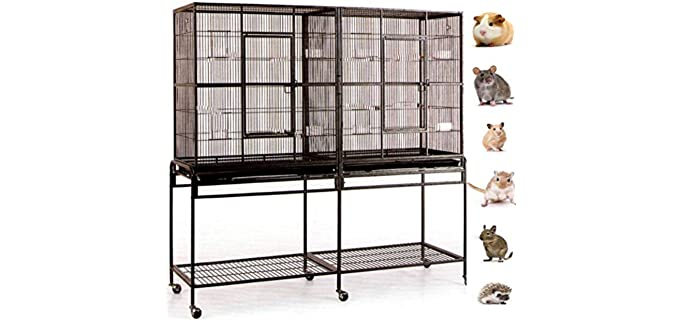 Mcage New Large Wrought Iron Double Cage - Chinchilla's Cage