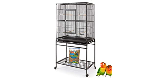 Mcage Large Wrought Iron Parakeet Cage with Removable Stand - Cage for A Parakeet