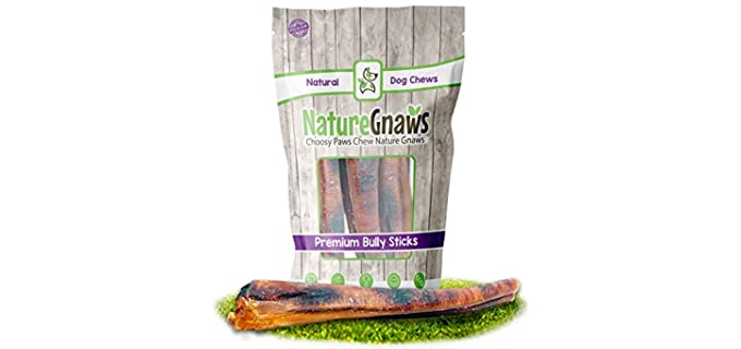Nature Gnaws Premium Bully Sticks - Dog Teeth Cleaning Chews