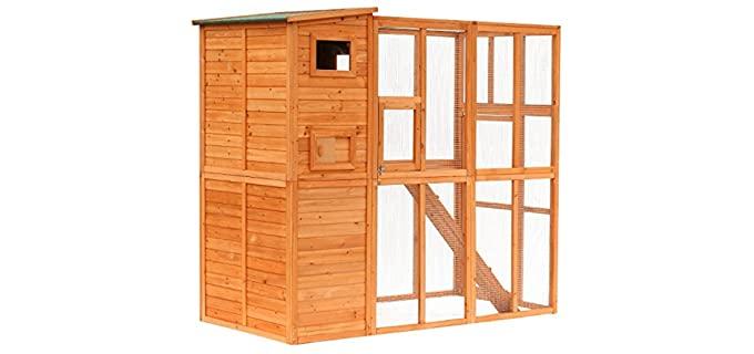 PawHut 88 Inch Coop - Wooden Backyard Hen House