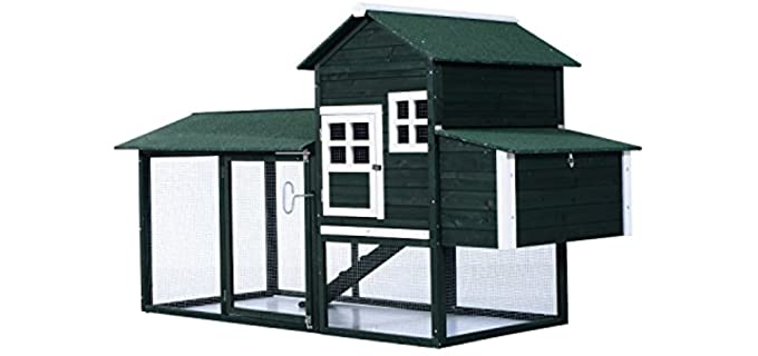 PawHut 83Inch Wooden Backyard Chicken Coop Covered Run - Nesting Box Coop for Chickens