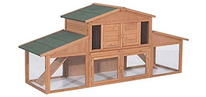 Pawhut deluxe Wooden - Outdoor Hutch for Rabbits