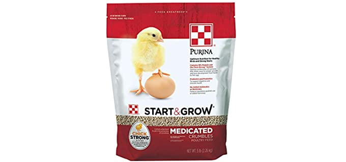 Purina Grow Starter/Grower Medicated Feed Crumbles - Chicken Food