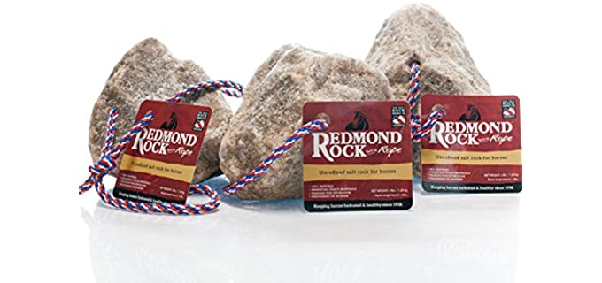 Redmond Rock on a Rope - Unrefined Horse Salt Block