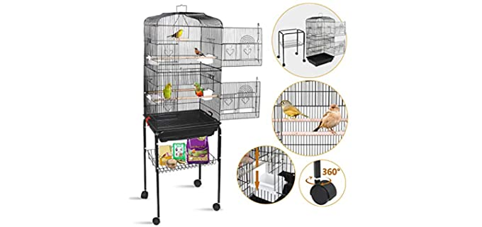SUPER DEAL Rolling Bird Cage - Cage for A Parakeet