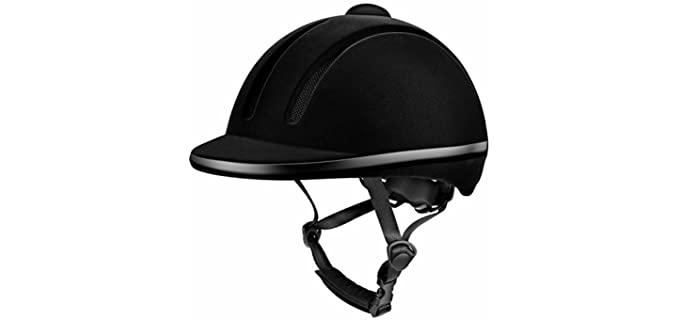 Tontron Velvet Texture Equestrian Helmet - Helmet for Horse Riders