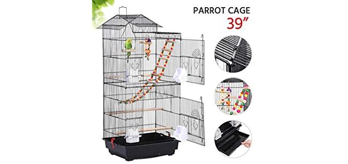 Yaheetech Roof Top Parakeet Cage - Parakeet Cage