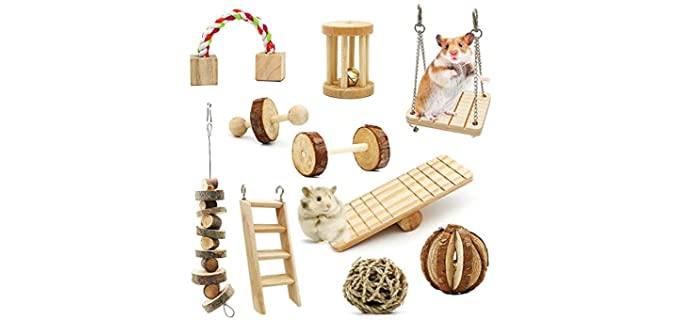 ZALALOVA 10-Pack Wooden Chew Toys - Toy for a Chinchilla