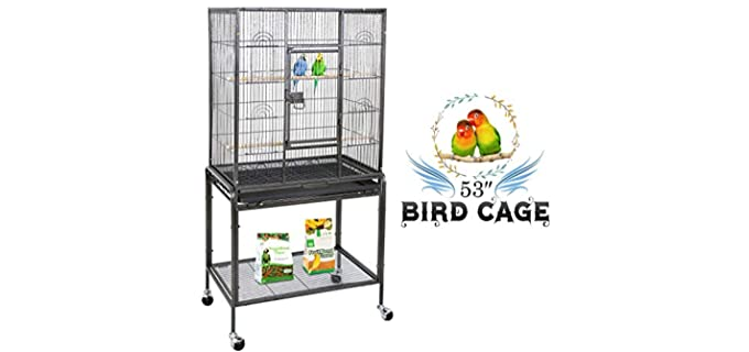 ZENY Bird Cage with Wrought Iron Construction - Parakeet's Cage