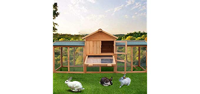 Leadmall-Direct 2 - Large Outdoor Hutch for Rabbits