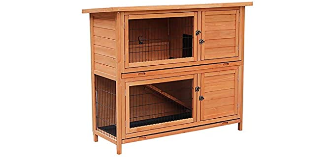 Merax Wooden Rabbit Wood Hutch - Outdoor Rabbit Hutch