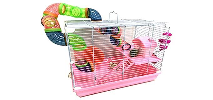 Mcage Pink 2-Levels - Hamster Habitat Home